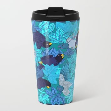 Tropical Art - Plants - Birds - Parrots Metal Travel Mug by Salome