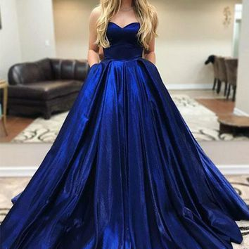 9bd49a2037b6 Prom Dress With Pockets Satin Strapless Royal Blue Evening Dresses
