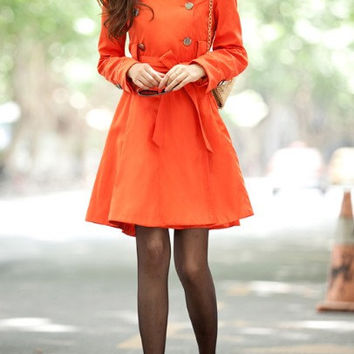 orange Cotton Long Jacket Hood Coat Cape Coat Hoodie Jacket Spring Jacket