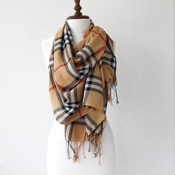 Plaid Pashmina Scarf, Large Scarf, Oversize Scarf, Women Fashion Accessories Gift Ideas For Her