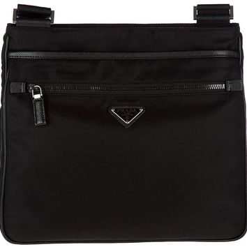 Prada men's Nylon cross-body messenger shoulder bag black