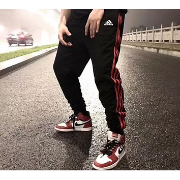 ADIDAS Men's and Women's Knitted Pants Pants Casual Sports Pants F-AA-XDD red