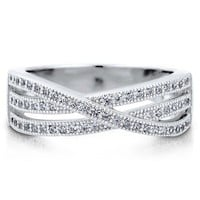 Micro Pave Clear Cubic Zirconia CZ Sterling Silver Woven Fashion Ring #r599