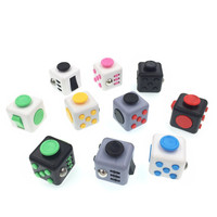 11 Styles Fidget Cube Toys ABS 3.3*3.3cm Squeeze Fun Stress Reliever Click Glide Flip Spin Breathe Roll With Box