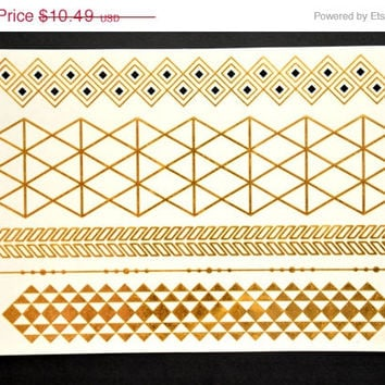 SALE! Metallic Gold Temporary Tattoo Jewelry - Flash Tattoo - Easy Application Jewelry Body Ink Art Bracelet Armband
