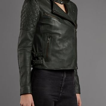 Syrma Leather-Salmon Biker Jacket in Smoke