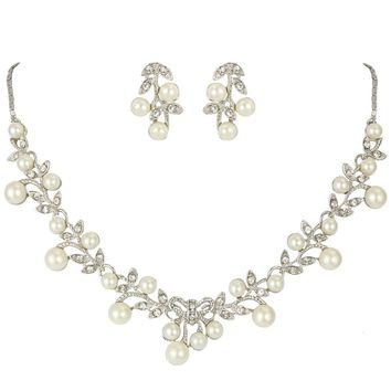Clear Rhinestone Flower Pearl Necklace Set for Bride
