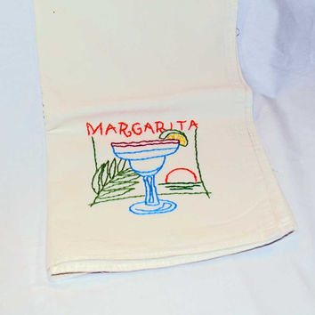 Hand Embroidered Vintage Design Tea Towel or Bar Towel, Mixed Drink Margarita Great Gift Idea