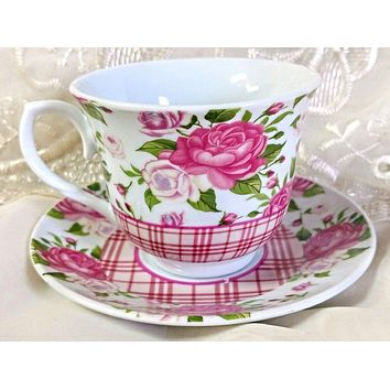 Gingham Rose Set of 6 Discount Porcelain Teacups & Saucers  $5.95 Flat Rate Shipping or order 2 sets for FREE Shipping!