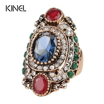 Turkey Jewellery Blue  Vintage Wedding Rings For Women Color Antique Gold Unique Punk Rock Crystal Resin Ring Gift