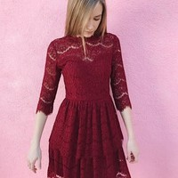 ORNAMENT DRESS- RED LACE