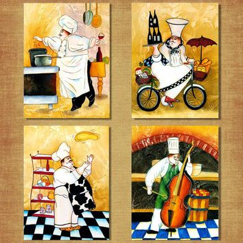 Cartoon Anime Restaurant Painting Bakery Cook Poster Kitchen Wall Art Print Picture Coffee House Canvas Home Decoration
