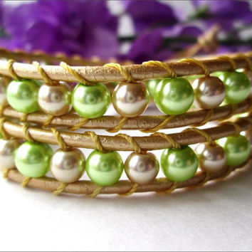 Gold and Lime Glass Pearl Leather Wrap Bracelet | Women's Gold Leather Wrap Bracelet | Chan Luu Style Bracelet | Lady Green Eyes Jewelry