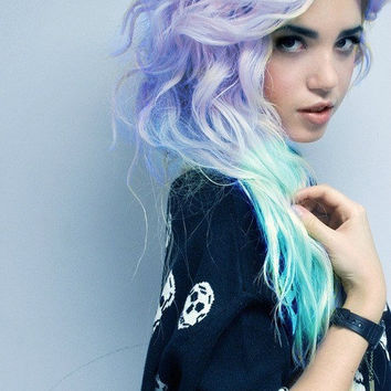 PASTEL FANTASY  // (2) Aqua Blue and Lavender Purple Hair Extensions // Clip-In // Human Hair