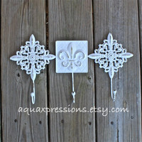 Metal Wall Hook /White fleur de lis /Ornate Hanger /Key Holder /Bathroom Fixture /Bedroom /Nursery