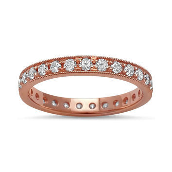 0.68ct Round Pavé Diamonds in 14K Rose Gold Wedding Eternity Band Ring
