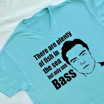 Chuck Bass- There are plenty of fish in the sea but only one bass Vneck shirt-Gossip Girl clothing-TV Show-Chuck and Blair