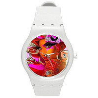 Colorful Lady with Tattoos Girls or Ladies White Plastic Watch