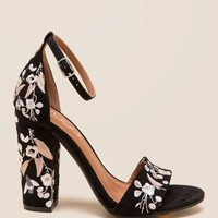 Slicker Embroidered Block Heel