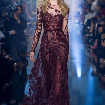 2017 Zuhair murad Elegant A-line Burgundy long Prom dresses illusion neck Long sleeve sequins Crystals evening gowns couture