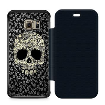 Dead sugar skull flower Leather Wallet Flip Case Samsung Galaxy S6 Edge