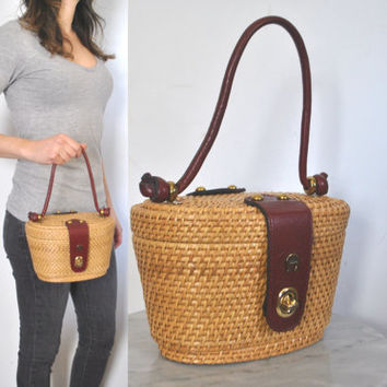 Wicker Straw Purse Bag / Etienne Aigner