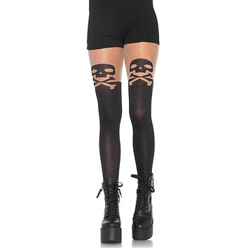 Breaking Skulls Black Opaque and Sheer Skull Crossbone Thigh High Tights Stockings Hosiery