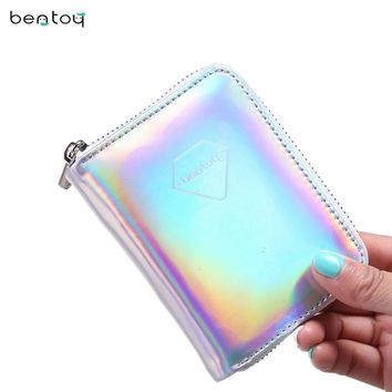 Bentoy Brand Leather Women's Wallet Hologram Money Purse Short Clutch Bank Card Holders Fashion Carteira Feminina Zip Coin Purse