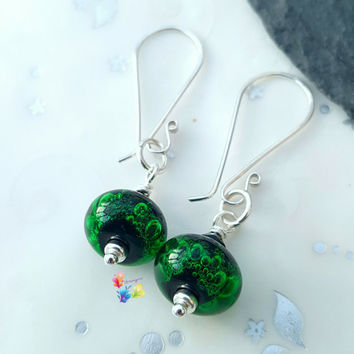 Neon Green Bubble Earrings, Sterling Silver Earrings, Lampwork Jewellery, Gift for Her, Crystal Jewelry, emerald, wife, girlfriend, sister
