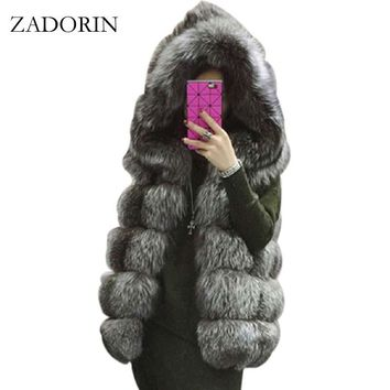 S-4XL Female Hooded Fur Coat 2016 New Winter Thick Warm Faux Silver Fox Fur Vest Women High-Grade Cappa Fashion Cardigan