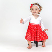 Red polka dot long sleeve dress for babies - unique dress for baby - first birthday dress - shower baby dress