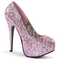 Womens Pale Pink 5.75 Inch Glitter Heels with Concealed Platform Sparkly Shoes