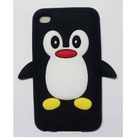 Bastexwireless Black Penguin Soft Silicone Case for iPod Touch 4/4th/4G/ iTouch Gen Generation 8GB 16GB 32GB MP3