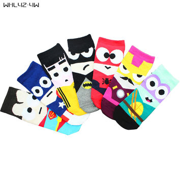 3 pair/lot 2017 High Quality Female 3D fashion sexy 7 colors Cartoon Socks Women Cotton Floor length thin Sock Slippers for Lady