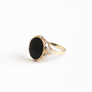 Vintage 10k Rosy Yellow & White Gold Black Onyx Ring - Art Deco 1930s Size 10 1/4 Black Gemstone Two Tone Gold Fine Coplay Jewelry