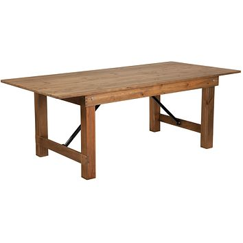 "HERCULES Series 7' x 40"" Solid Pine Folding Farm Table"