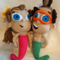 CROCHET PATTERN Only - Undersea Siblings Crochet Pattern - Amigurumi Mermaid Girl - Merman Boy Dolls - Customizable Characters