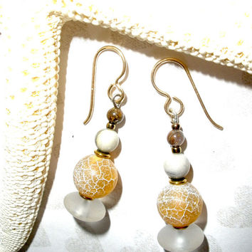 CHUNKY GEMSTONE EARRINGS, Handcrafted Drop Dangle Gemstone Earrings, Agate Jasper Rock Crystal, Gold Plated Earwires