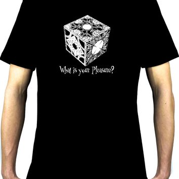 "Puzzle Box ""What is your Pleasure?"" Men's T-Shirt Hellraiser Pinhead Horror"