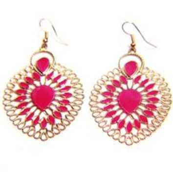 Ethnic Enamel Oval Hook Earrings