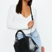 Missguided - Black Croc Style Bag