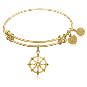 Expandable Bangle in Yellow Tone Brass with Wheel Of Dharma Unification Symbol