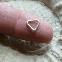 Triangle Piercing 16 gauge, Sterling Silver Piercing  9.6 MM, For eye brow, snug, rook, tragus, daith, Helix      rim or helix. or elsewhere
