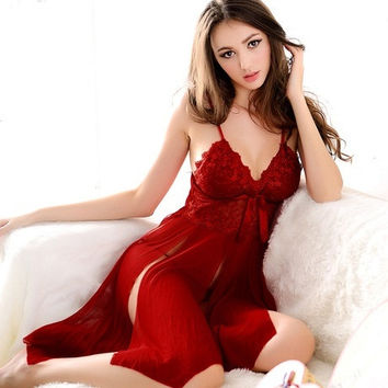 Halter Plunging Hot Womens Gowns Fantasy Negligee sexy nightgown Nylon Lingeries Dress Free Size = 1932005892
