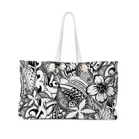 Polynesian Black And White Tattoo Art Beach Bag