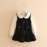 Baby Girls Kroean Clothing Set Turn down Collar Long Sleeve White Shirt + Dot Skirt Autumn Winter Kids Dress School Clothes-in Clothing Sets from Mother & Kids on Aliexpress.com | Alibaba Group