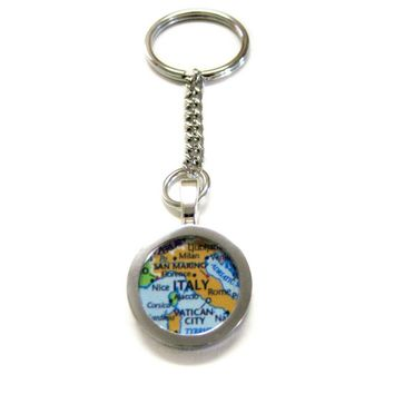 Italy Map Pendant Keychain