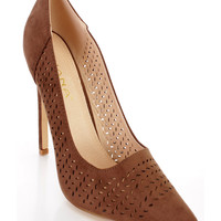 Brown Perforated Single Sole Pump Heels Faux Suede