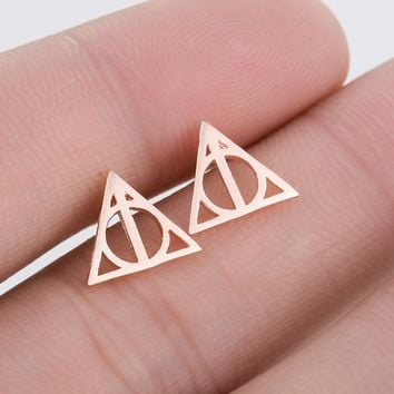 Minimalist Earrings Deathly Hallows Halloween Stud Earring For Women Gold Small Hogwarts Jewelry Valentines Day Gift Dropship