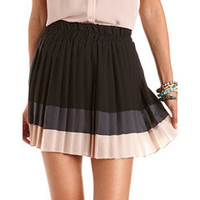 Pleated Chiffon Color Block Skirt: Charlotte Russe